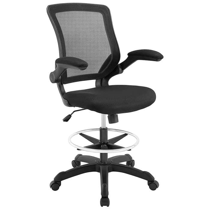 Modway Veer Drafting Chair Reception Desk Chair Flip Up Arm Drafting Chair
