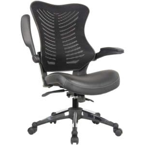 Office Factor Executive Ergonomic Office Chair Back Mesh Bonded Leather Seat Flip-up Arms Molded Seat