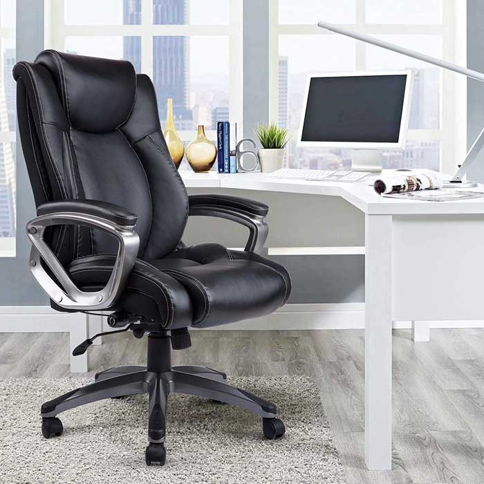 VANBOW Leather Memory Foam Office Chair Adjustable Lumbar Support Knob and Tilt Angle High Back Executive Computer Desk Chair