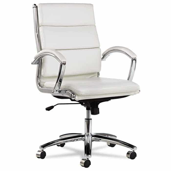 Alera Neratoli Mid Back Swivel Tilt Chair White Faux Leather
