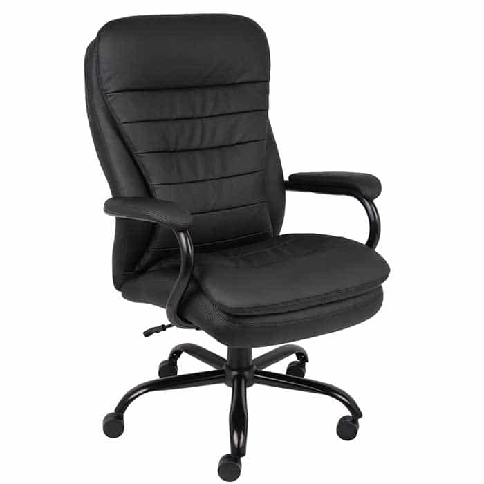 Boss Office Products Heavy Duty Double Plush LeatherPlus Chair with 350lbs Weight Capacity