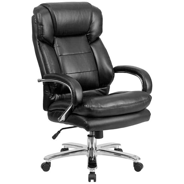 Flash Furniture Big Tall Office Chair Black Leather Swivel Executive Desk Chair with Wheels