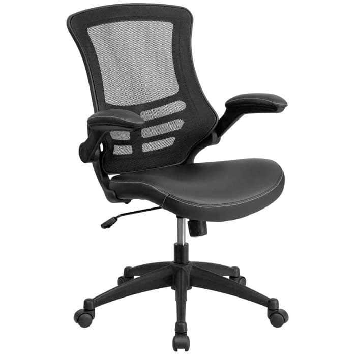 Flash Furniture Desk Chair with Wheels Swivel Chair with Mid Back Black Mesh and LeatherSoft Seat for Home Office and Desk