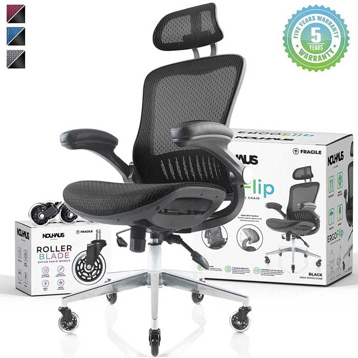 NOUHAUS ErgoFlip Mesh Computer Chair Black Rolling Desk Chair with Retractable Armrest and Blade Wheels Ergonomic Office Chair