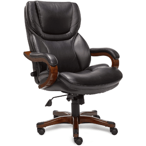 Serta Big and Tall Executive Office Chair with Wood Accents Adjustable High Back Ergonomic Lumbar Support