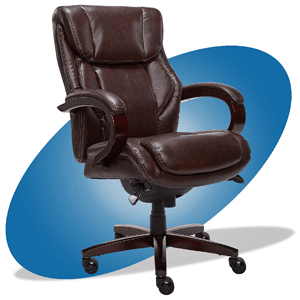 La-Z-Boy Bellamy Bonded Leather Executive Office Chair with Memory Foam Cushions