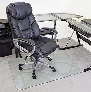 glass chair mat with lip